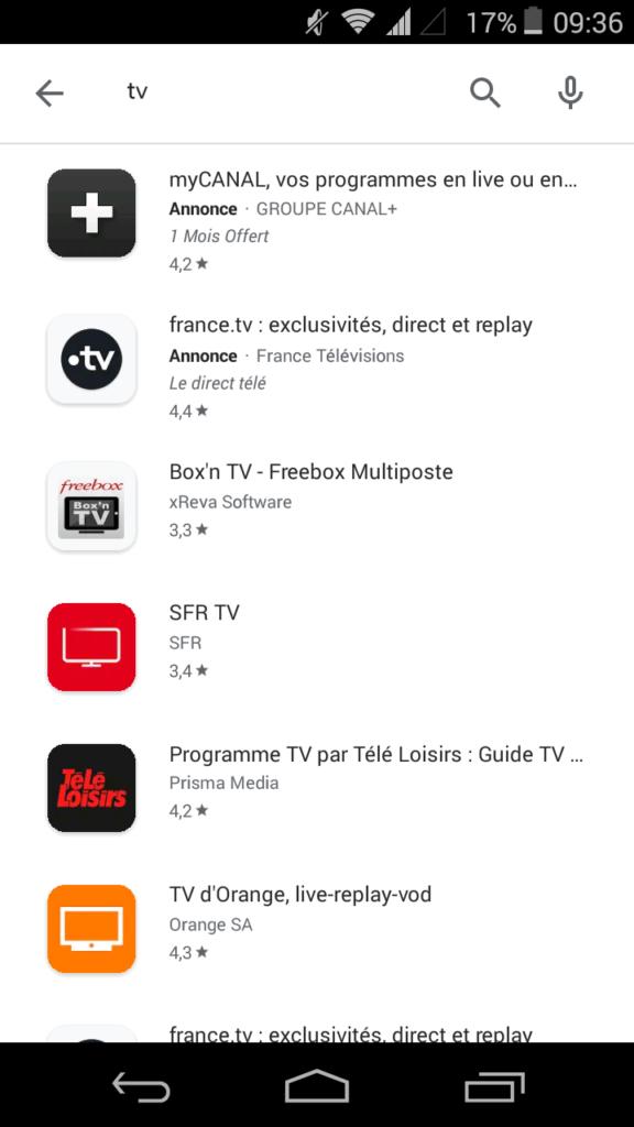 Application TV de votre opérateur smartphone Android