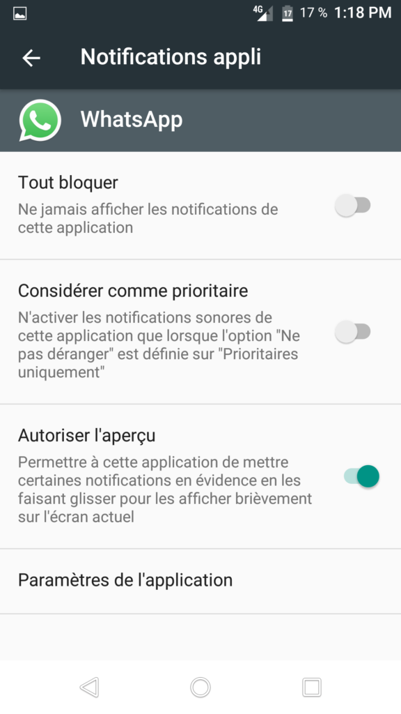problème de notification whatsapp android