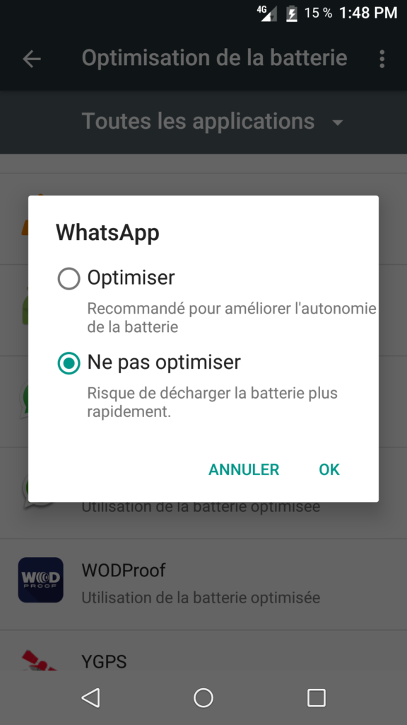 optimisation batterie application whatsapp