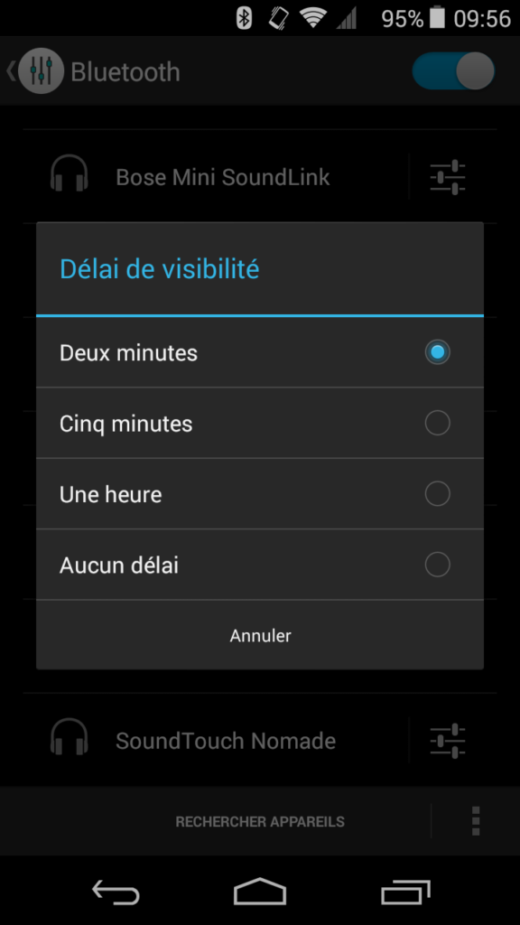 visibilité bluetooth android