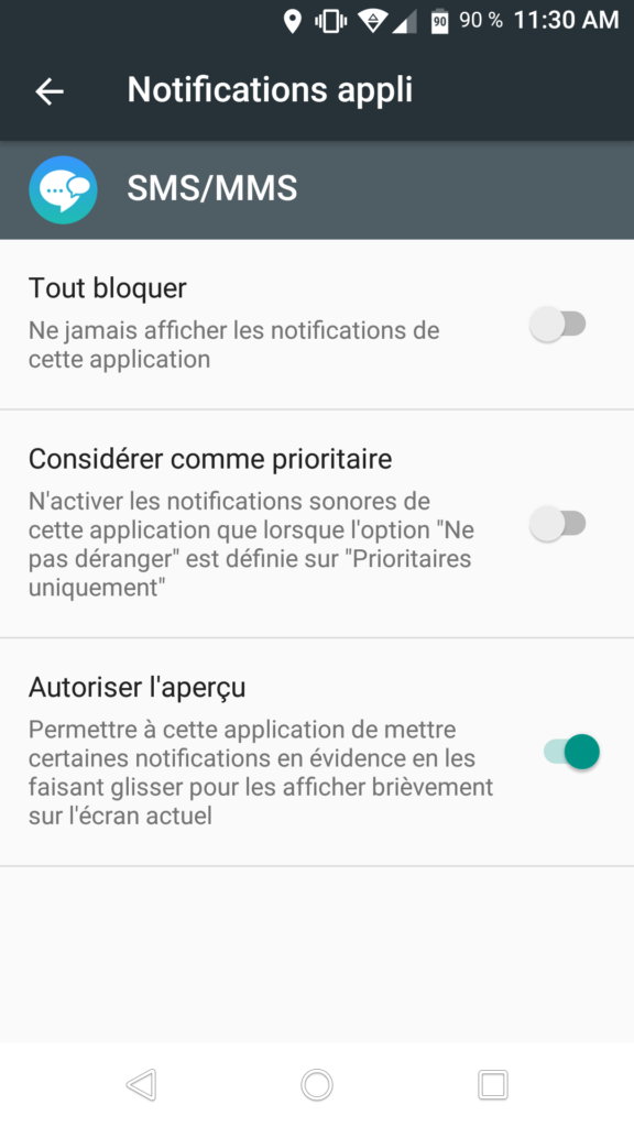 notifications application mseeage