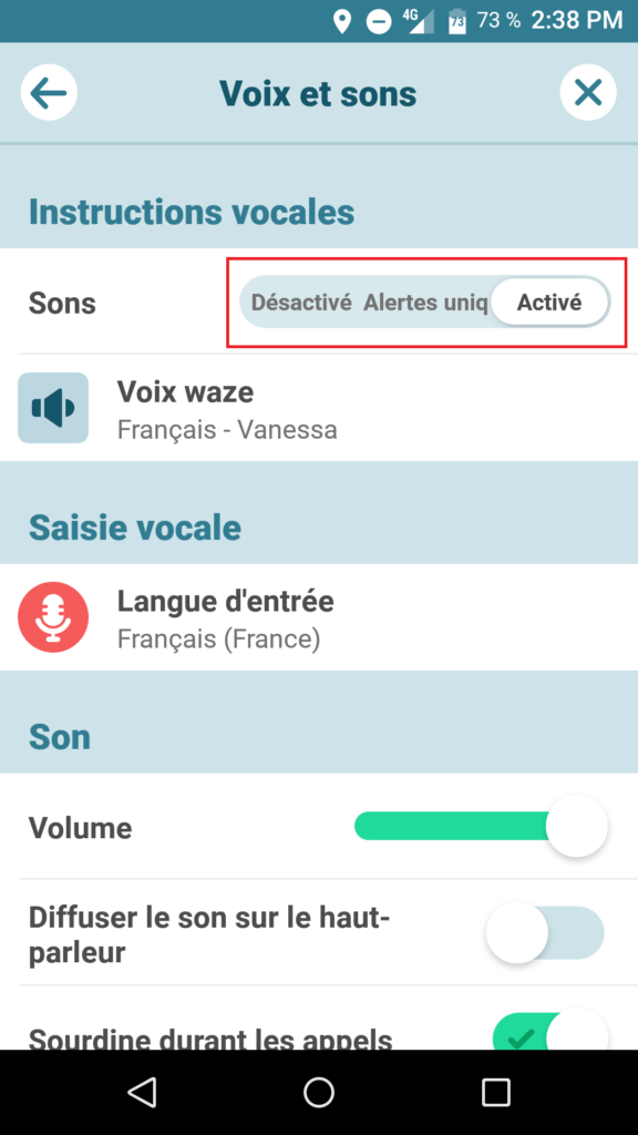 réglages son applicatoin waze android