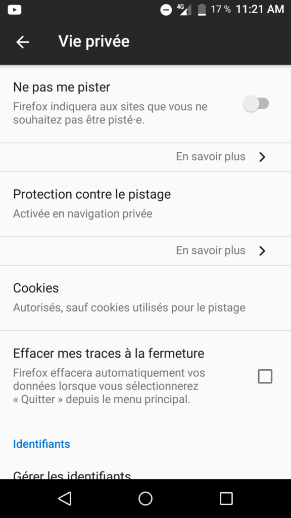 bloquer pubs firefox vie privée android