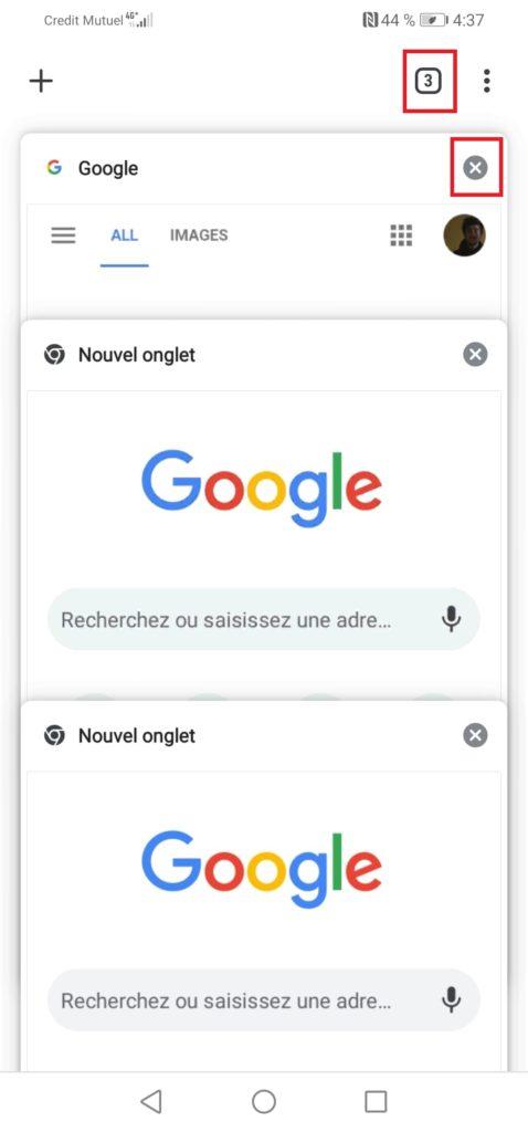 Désactiver la navigation privée en fermant l'onglet de navigation privée ouverte sur votre smartphone Android
