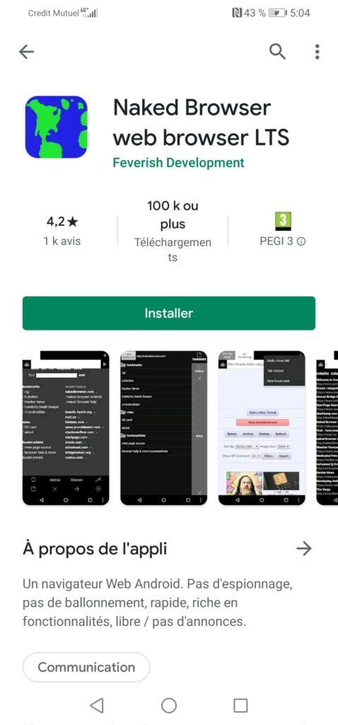 navigateur internet sans mode incognito sur android