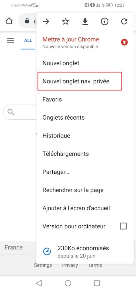 navigation privée google android