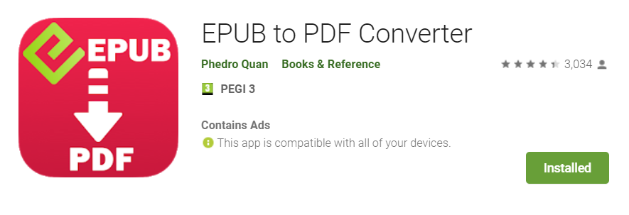 application link convert EPUB file to PDF on android