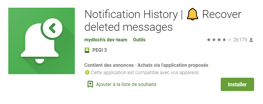 autre lien téléchargement application notifications android