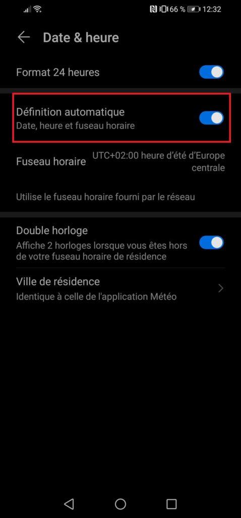 manuellt ställa in tidszon Android smartphone