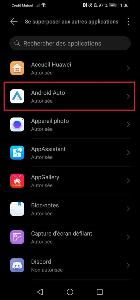 superposition d'application android auto