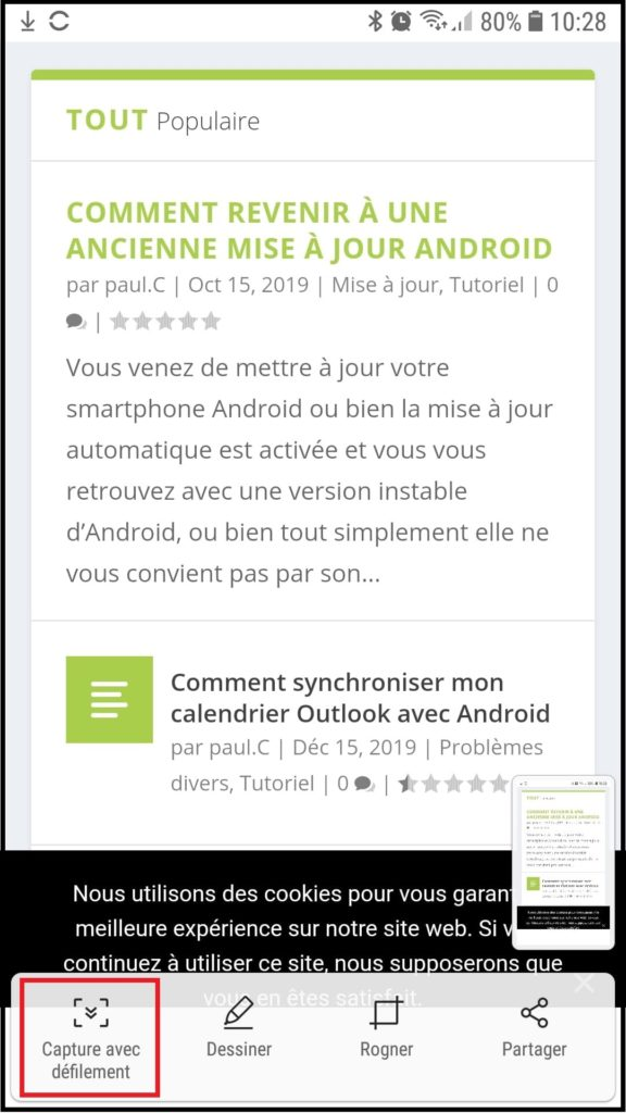 long screenshot sur smartphone samsung