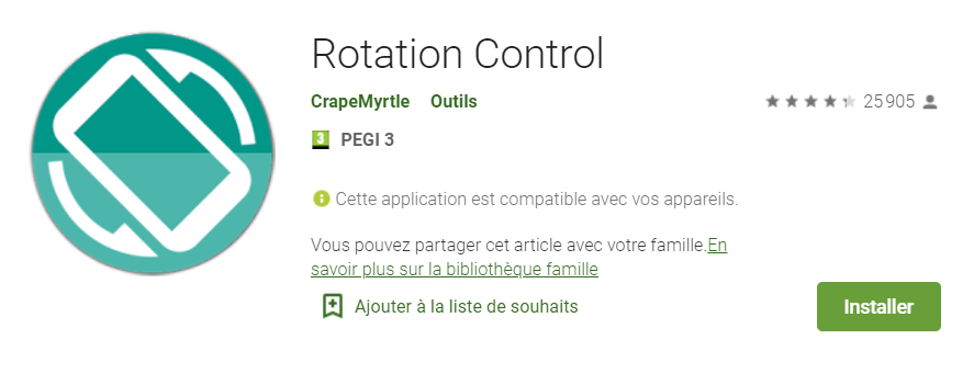 link to download automatic rotation control application android smartphone