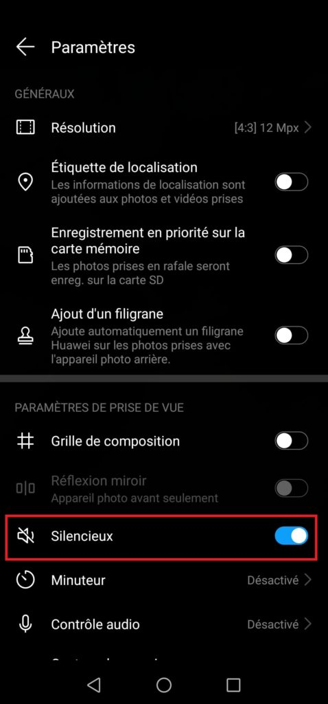 mute on android camera