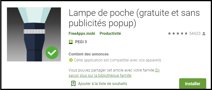 application lampe torche gratuite sur android