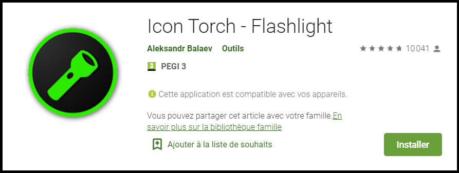 icone d'outil lampe torche sur smartphone android