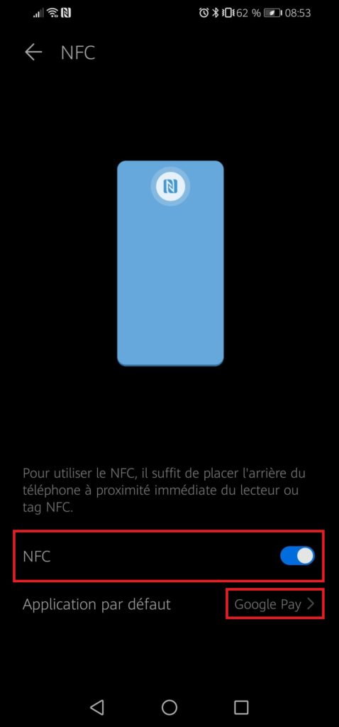 how to activate NCF on Android smartphone