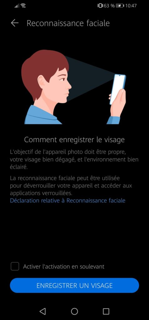 facial recognition to unlock smartphone without power button