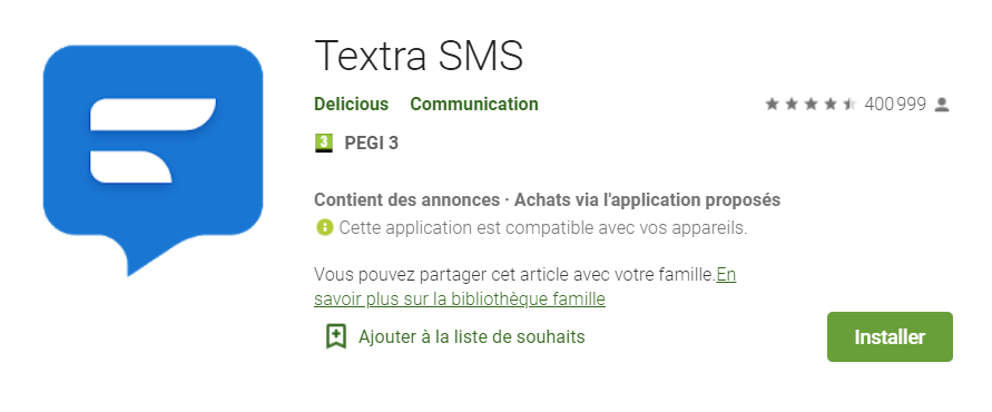 textra sms , télécharger appli sms android