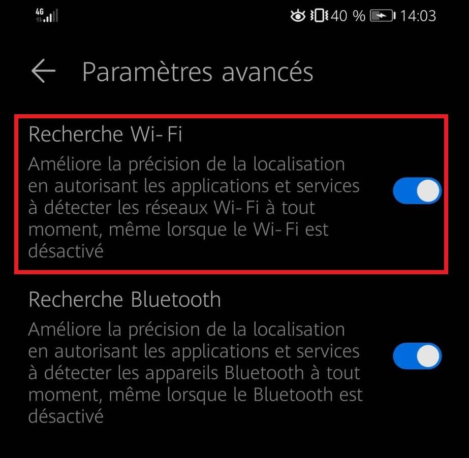 paramètres wifi pour le maintenir éteint sur smartphone android
